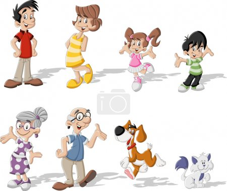 Illustration for Colorful cute happy cartoon family with pets - Royalty Free Image