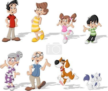 Illustration pour Coloré mignon heureux famille de dessin animé avec animaux domestiques - image libre de droit