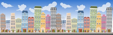 Illustration for Big colorful city landscape with buildings - Royalty Free Image