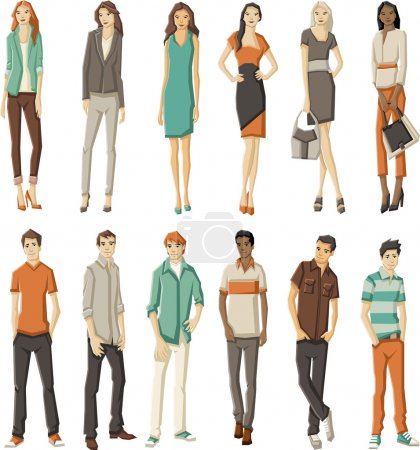 Fashion cartoon young people
