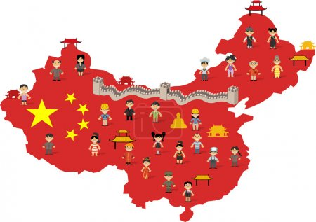 China map with  people