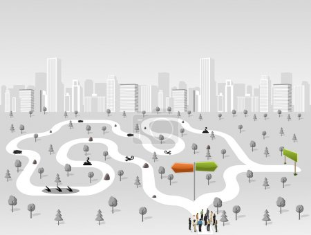 Illustration for Group of business people choosing the right path. Multiple options. Overcoming challenges. - Royalty Free Image