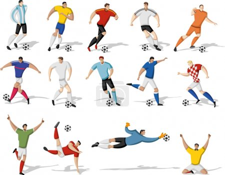 Soccer players kicking ball.