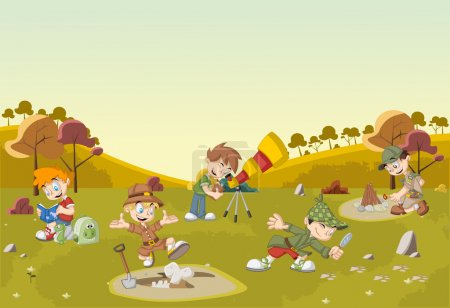 Illustration for Group of cartoon explorer boys on green field wearing different costumes - Royalty Free Image