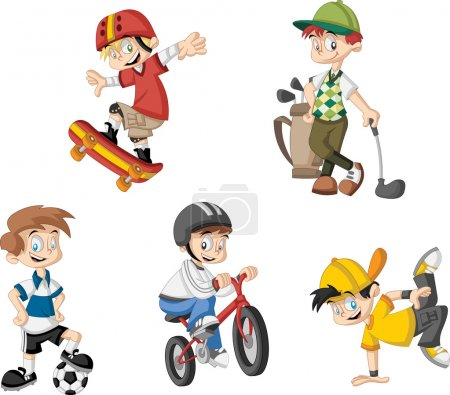 Illustration for Group of cartoon boys playing various sports - Royalty Free Image