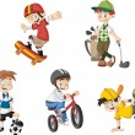 Group of cartoon boys playing various sports...