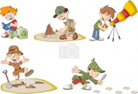 Illustration for Group of cartoon explorer boys wearing different costumes - Royalty Free Image