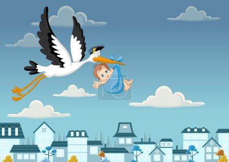 Illustration pour Cigogne dessin animé offrant un garçon nouveau-né - image libre de droit