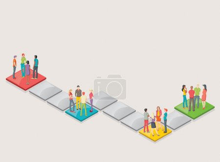 Illustration for Board game with people over blocks - Royalty Free Image