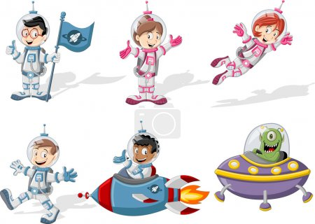 Illustration for Astronaut cartoon characters in outer space suit with a alien spaceship - Royalty Free Image