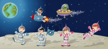 Illustration for Astronaut cartoon characters on the moon with a alien spaceship - Royalty Free Image