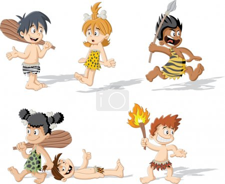 Illustration for Croup of cartoon cavemen. Stone age children. - Royalty Free Image