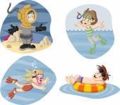 Kids wearing Scuba diving suit Cartoon divers
