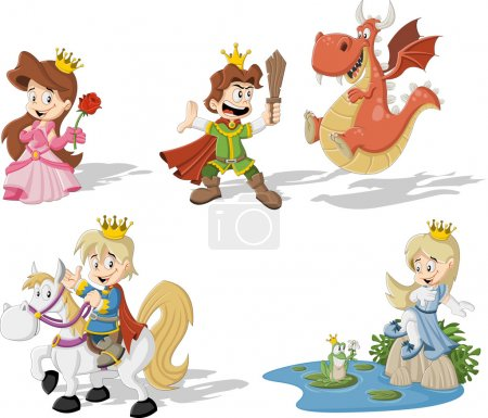 princesses and princes with dragon and frog