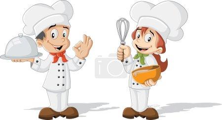 Illustration pour Mignon dessin animé enfants chefs cuisine - image libre de droit