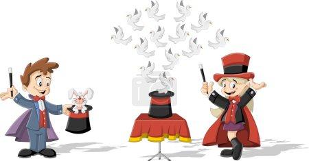 Illustration pour Magicien de bande dessinée enfants tenant baguettes magiques effectuer des tours avec des animaux - image libre de droit