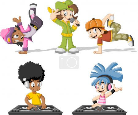 Illustration for Cartoon hip hop dancers with a singer and a dj playing music - Royalty Free Image
