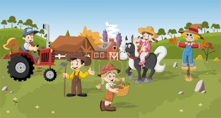 Illustration for Group of cartoon farmers working - Royalty Free Image