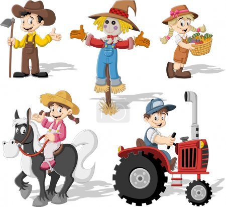 Cartoon farmers working