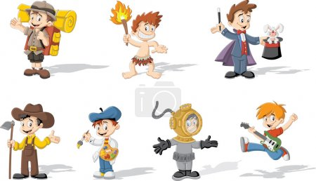 Illustration for Group of cartoon boys wearing different costumes - Royalty Free Image