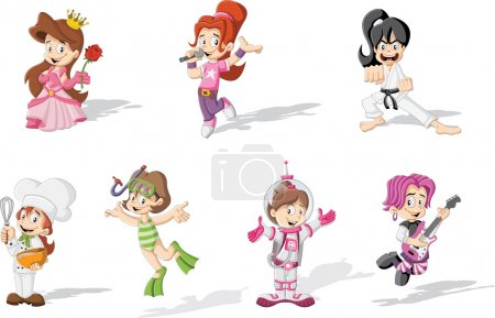 Illustration for Group of cartoon girls wearing different costumes - Royalty Free Image