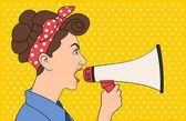 Brunet retro woman shouting with megaphone