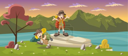 Cute cartoon kids on a green park with a blue lake