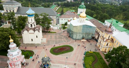 The central square of the Holy Trinity St. Sergius Lavra. Top view from the bell tower