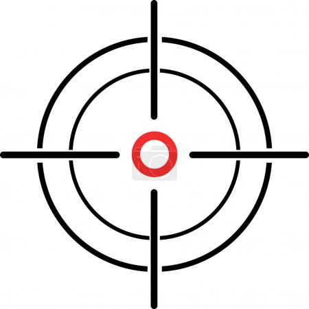 An Illustration of a crosshair reticle on a white ...