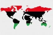 Svět s Libyjská vlajka