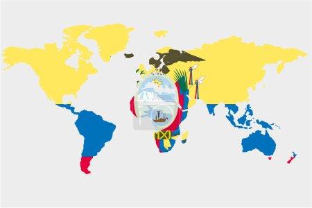 The world with flag of Ecuador