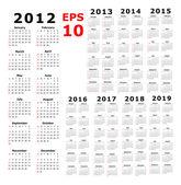 Calendar for 2012 2013 2014 2015 2016 2017 2018 2019  - Basic