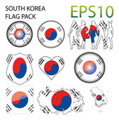 South Korea Flag Map Pack