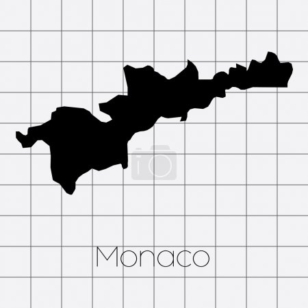 Squared Background with the country shape of Monaco