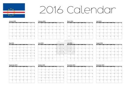 2016 Calendar with the Flag of Cape Verde