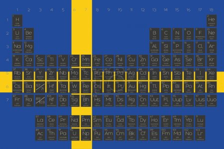 Periodic Table of Elements overlayed on the flag of Sweden