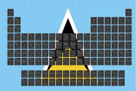 Periodic Table of Elements overlayed on the flag of Saint Lucia