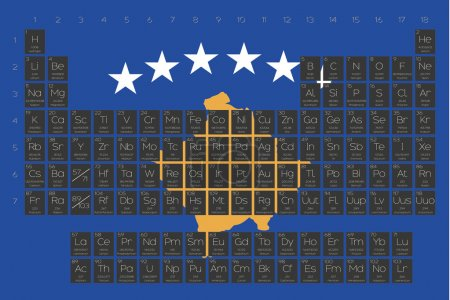 Periodic Table of Elements overlayed on the flag of Kosovo