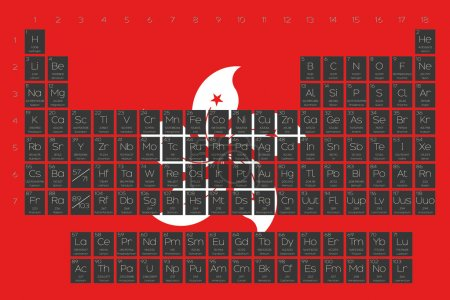 Periodic Table of Elements overlayed on the flag of Hong Kong