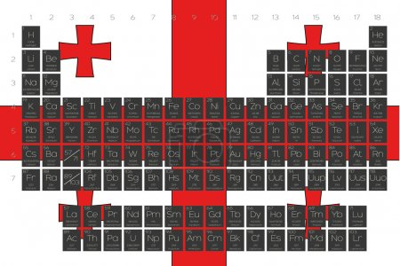 Periodic Table of Elements overlayed on the flag of Georgia