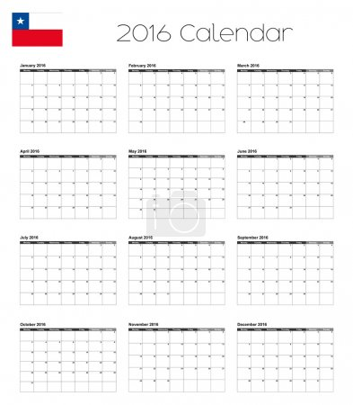 2016 Calendar with the Flag of Chile