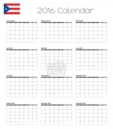 2016 Calendar with the Flag of Puerto Rico