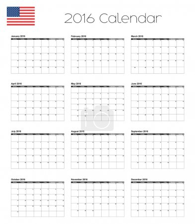 2016 Calendar with the Flag of United States of America