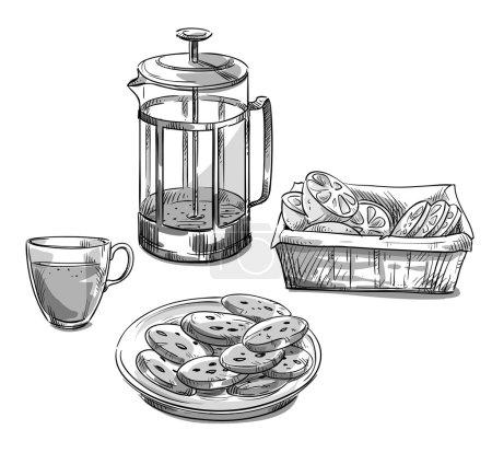 Tea serving. Vector sketch