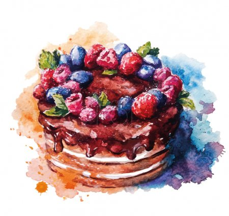 Hand painted watercolor cake. Vector illustration....