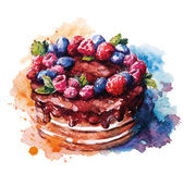 Hand painted watercolor cake Vector illustration
