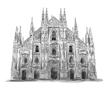 Duomo di Milano. Milan cathedral. Vector sketch.
