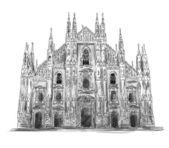 Duomo di Milano Milan cathedral Vector sketch