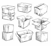 Set of doodle cardboard boxes Vector illustration