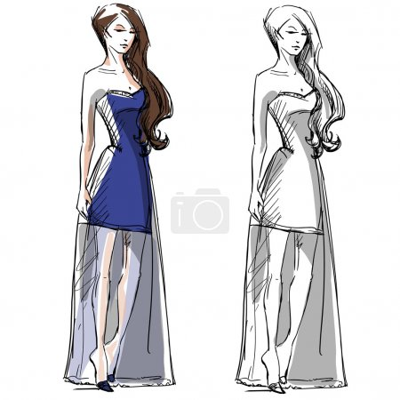 Fashion hand drawn illustration. Vector sketch. Long dress.
